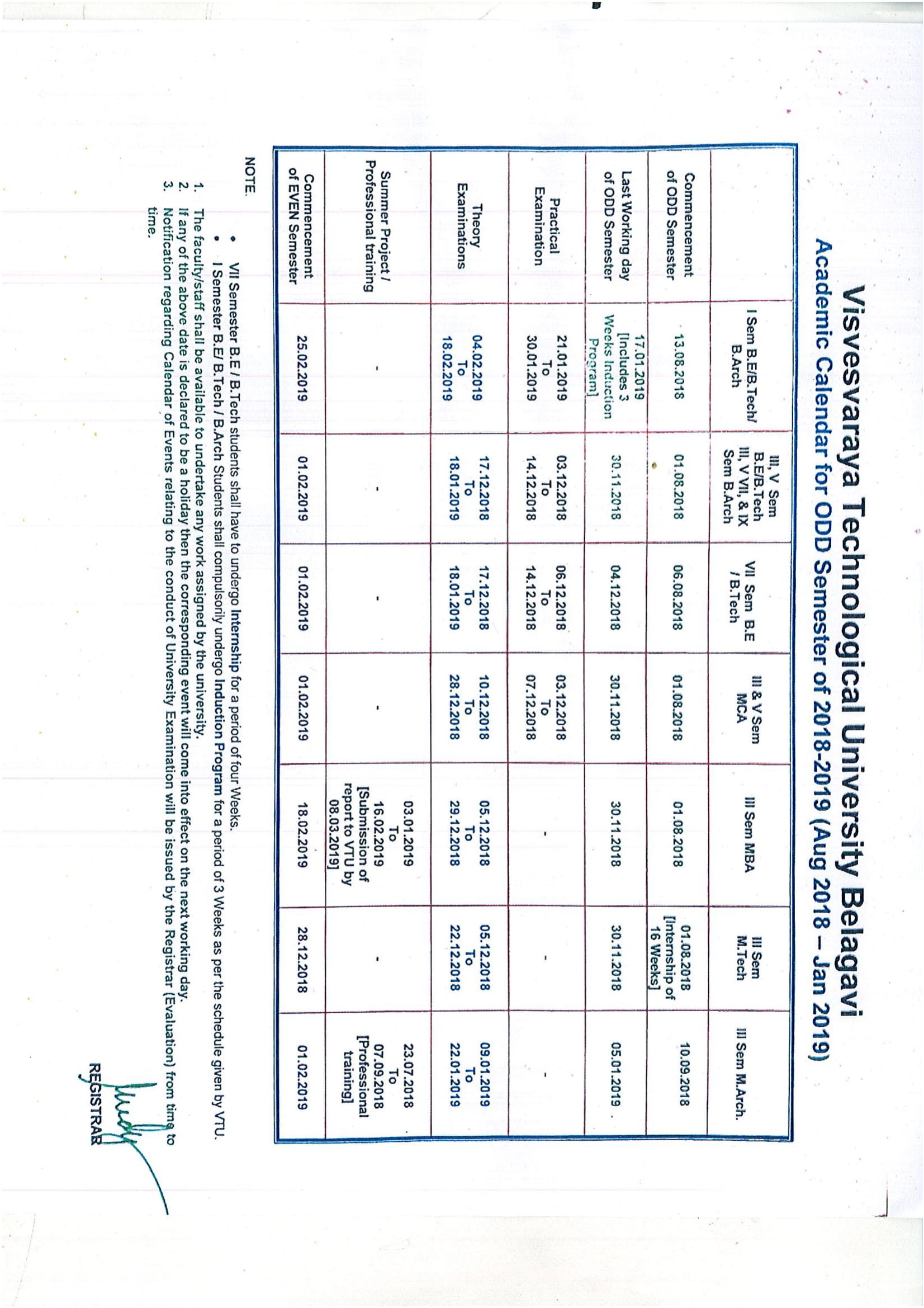 Academic Calendar for the ODD Semester 2018- 19